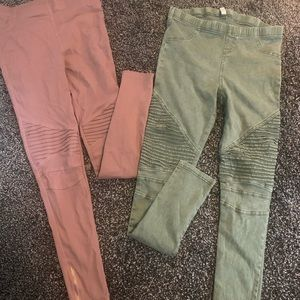 EUC JEGGINGS SMALL DUSTY ROSE AND LIGHT ARMY GREEN